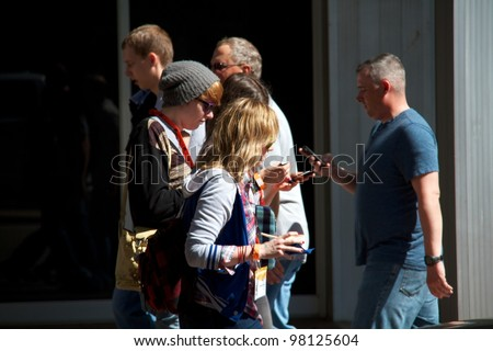 Austin, TX - March 12: SXSW Interactive Conference in Austin.   Interesting fashion during the conference. - stock photo