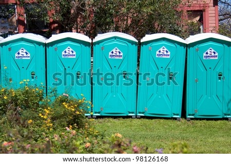 Austin, TX - March 11: SXSW Interactive Conference in Austin. Portable facilities are in high demand during the conference. - stock photo