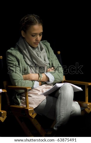 AUSTIN,TX - OCTOBER 24:  Jessica Alba reads ' The Hand Job ' Script at the Rollins Theatre during the 17th Annual Austin Film Festival on October 24, 2010 in Austin, TX. - stock photo