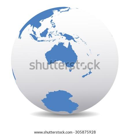 Australia and New Zealand, South Pole, Antarctica, Global World - Raster Version - stock photo