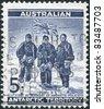 AUSTRALIA (ANTARCTIC TERRITORY)- CIRCA 1959: A stamp printed in Australia (Antarctic Territory), is depicted Edgeworth David, Douglas Mawson and A. F. McKay (1908-09 South Pole Expedition), circa 1959 - stock photo