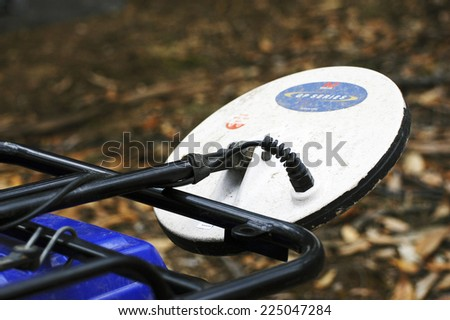AUSTRALIA - APRIL 27: Detail of a metal detector mounted on a quad to go in search of gold nuggets in the Australian outback, April 27, 2007. - stock photo
