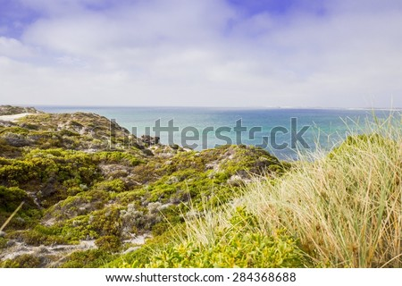 Australia Beach Sand Dunes View Background Ocean - stock photo