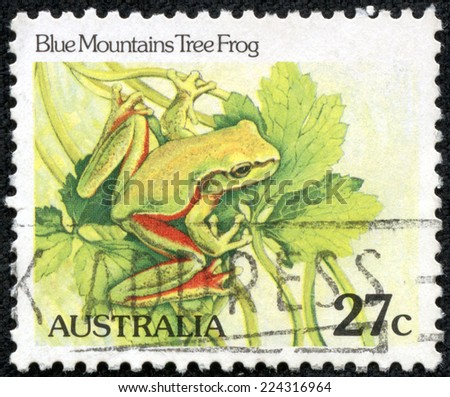 AUSTRALIA - CIRCA 1982:A Cancelled postage stamp from Australia illustrating Australian Reptiles, issued in 1982. - stock photo