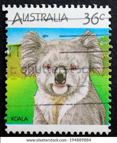 AUSTRALIA - CIRCA 1986:A Cancelled postage stamp from Australia illustrating Australian Wildlife, issued in 1986. - stock photo