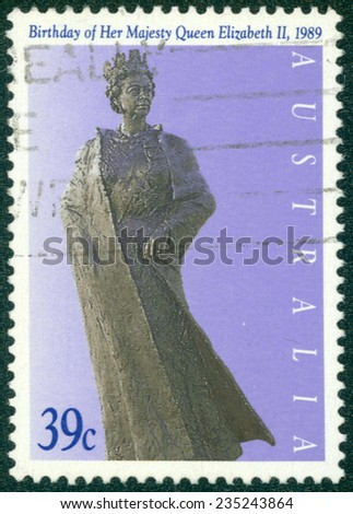 AUSTRALIA - CIRCA 1989:A Cancelled postage stamp from Australia illustrating Birthday of Queen Elizabeth II, issued in 1989. - stock photo