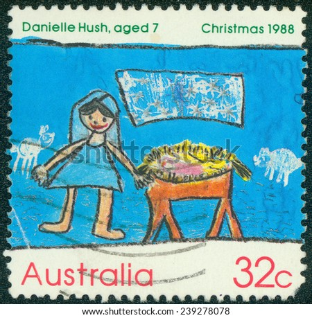 AUSTRALIA - CIRCA 1988:A Cancelled postage stamp from Australia illustrating Christmas, issued in 1988. - stock photo