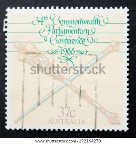 AUSTRALIA - CIRCA 1988:A Cancelled postage stamp from Australia illustrating commonwealth parliamentary conference, issued in 1988.