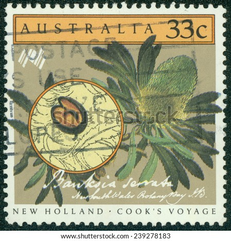 AUSTRALIA - CIRCA 1986:A Cancelled postage stamp from Australia illustrating Cook's voyage, issued in 1986.
