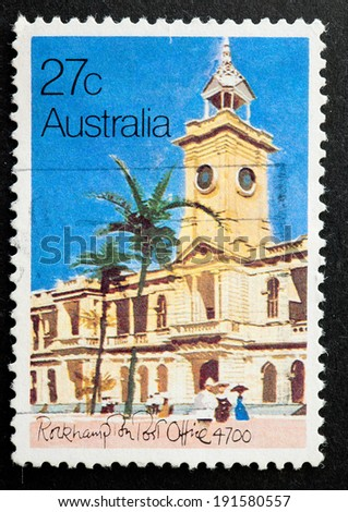 AUSTRALIA - CIRCA 1982:A Cancelled postage stamp from Australia illustrating Historic Post Offices, issued in 1982.
