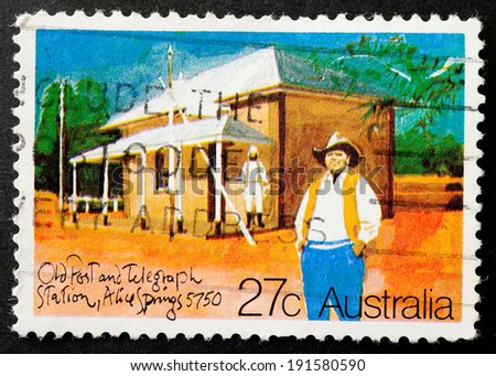 AUSTRALIA - CIRCA 1982:A Cancelled postage stamp from Australia illustrating Historic Post Offices, issued in 1982. - stock photo