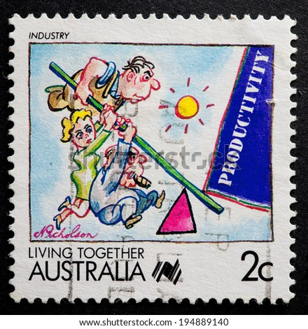 AUSTRALIA - CIRCA 1988:A Cancelled postage stamp from Australia illustrating Living Together, issued in 1988.