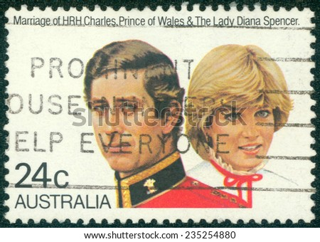 AUSTRALIA - CIRCA 1981:A Cancelled postage stamp from Australia illustrating Marriage of Charles and Diana, issued in 1981. - stock photo