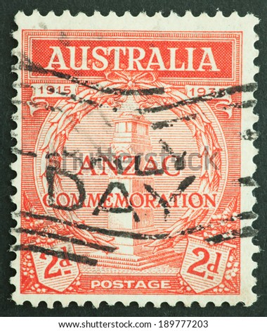 AUSTRALIA - CIRCA 1935:A Cancelled postage stamp from Australia illustrating 20th anniversary of ANZAC Landing , issued in 1935.