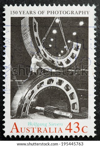 AUSTRALIA - CIRCA 1991:A Cancelled postage stamp from Australia illustrating 150th Anniversary of Photography, issued in 1991.