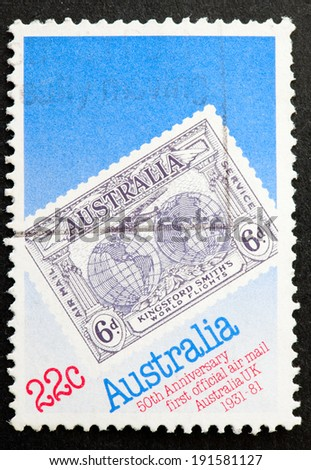 AUSTRALIA - CIRCA 1981:A Cancelled postage stamp from Australia illustrating 50th Anniversary 1st Official Airmail, issued in 1981.