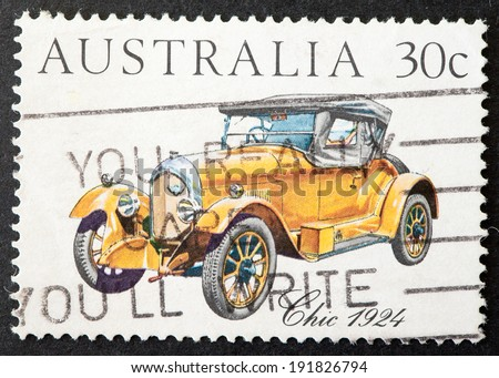 AUSTRALIA - CIRCA 1984:A Cancelled postage stamp from Australia illustrating Vintage and Veteran Cars, issued in 1984