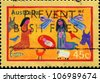 AUSTRALIA - CIRCA 1998: A greeting Christmas stamp printed in Australia shows children's drawings of a Nativity scene, circa 1998 - stock photo