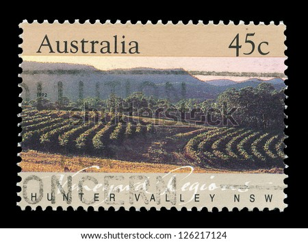 AUSTRALIA- CIRCA 1992: A post stamp printed in Australia shows Hunter valley, circa 1992. - stock photo