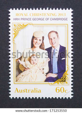 AUSTRALIA - CIRCA 2014: a postage stamp printed in Australia to commemorate the Christening of Prince George the first child of Prince William and Kate Middleton, circa 2014.  - stock photo