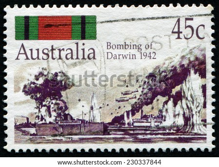 AUSTRALIA - CIRCA 1992: A stamp printed by AUSTRALIA shows Bombing of Darwin in 1942, WWII, circa 1992 - stock photo