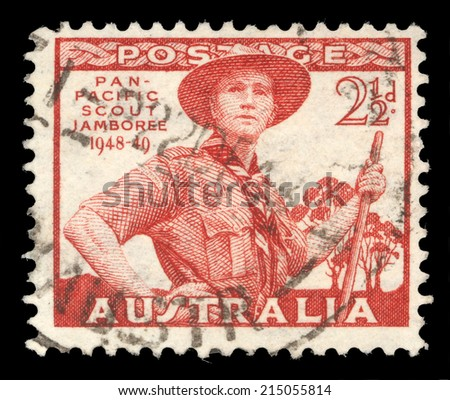 AUSTRALIA-CIRCA 1952: A stamp printed in Australia dedicated to Pan-Pacific Scout Jamboree, Victoria, portrayed Scout in Uniform, circa 1952 - stock photo