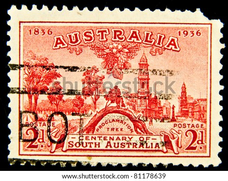 AUSTRALIA - CIRCA 1938: A stamp printed in Australia devoted Governor Phillipat Sydney Cove, circa 1938