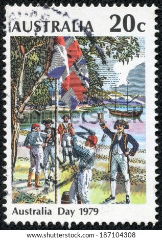 "AUSTRALIA - CIRCA 1979: A stamp printed in Australia from the ""Australia Day"" issue shows Raising the Flag, Sydney Cove, 26 January 1788, circa 1979. - stock photo"