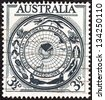 "AUSTRALIA - CIRCA 1954: A stamp printed in Australia from the ""Australian Antarctic Research"" issue shows territory badge, circa 1954. - stock photo"