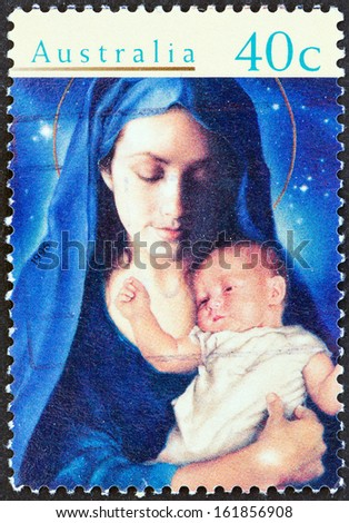 """AUSTRALIA - CIRCA 1996: A stamp printed in Australia from the """"Christmas """" issue shows Madonna and Child, circa 1996.  - stock photo"""