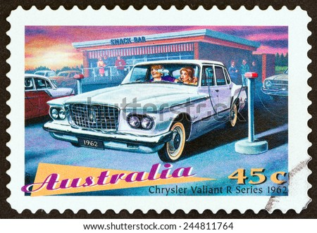 "AUSTRALIA - CIRCA 1997: A stamp printed in Australia from the ""Classic Cars "" issue shows Chrysler Valiant R Series sedan, 1962, circa 1997."