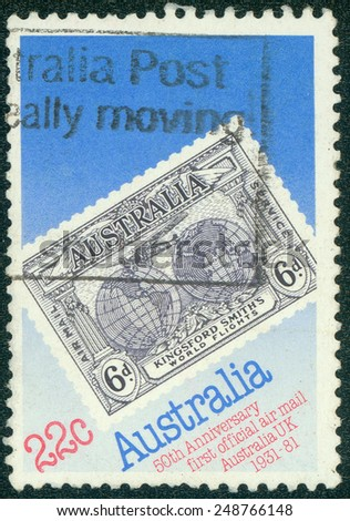 AUSTRALIA - CIRCA 1981: A stamp printed in Australia issued for the 50th anniversary of Official Australia - UK Airmail Service shows 1931 Kingsford Smith's Flights Commemorative stamp, circa 1981. - stock photo