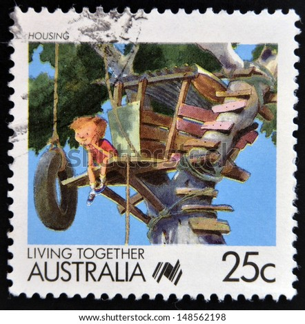 AUSTRALIA - CIRCA 1988: A stamp printed in Australia of the Living Together Australia series shows image of housing, circa 1988  - stock photo