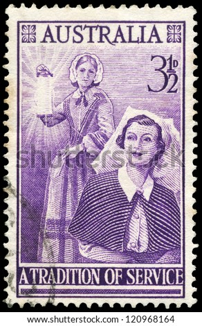 AUSTRALIA - CIRCA 1955: A Stamp printed in AUSTRALIA shows a Florence Nightingale (1820-1910) and modern Nurse, circa 1955