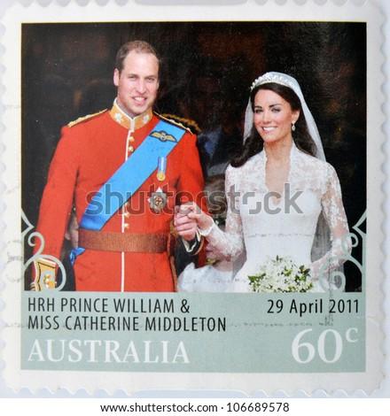 AUSTRALIA - CIRCA 2011: A  stamp printed in Australia shows an image of Prince Williams and Kate Middleton royal wedding, circa 2011. - stock photo