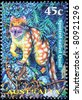 AUSTRALIA - CIRCA 1997: A stamp printed in Australia shows animal spotted-tail quoll cat, circa 1997 - stock photo