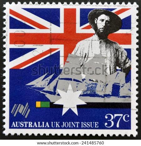 AUSTRALIA - CIRCA 1988: a stamp printed in Australia shows Australian colonist, first fleet vessel, Australia bicentennial, circa 1988  - stock photo