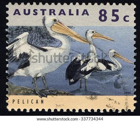 AUSTRALIA - CIRCA 1994: A stamp printed in Australia shows Australian Pelican (Pelecanus conspicillatus), Animal series, circa 1994 - stock photo