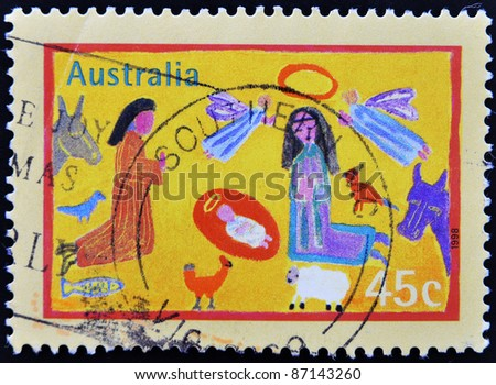 AUSTRALIA - CIRCA 1998: A stamp printed in Australia shows children's drawings of a Nativity scene, circa 1998