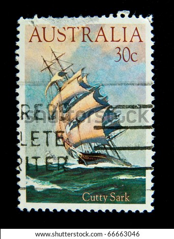AUSTRALIA - CIRCA 1984:A stamp printed in Australia shows Cutty Sark, circa 1984