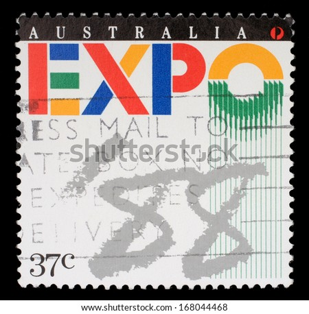 AUSTRALIA - CIRCA 1988: A stamp printed in Australia shows Expo '88 Logo, World Fair, Brisbane, circa 1988