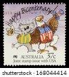 AUSTRALIA - CIRCA 1988: A stamp printed in Australia shows Happy Bicentenary! Caricature of Australian Koala and American Bald Eagle, circa 1988 - stock photo