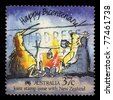 AUSTRALIA - CIRCA 1988: A stamp printed in Australia shows Happy Bicentenary! Caricature of an Australian koala and New Zealand kiwi, circa 1988 - stock photo