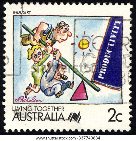 AUSTRALIA - CIRCA 1988: A stamp printed in Australia shows Industry, Living Together series, circa 1988 - stock photo