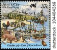 AUSTRALIA - CIRCA 1987: A stamp printed in Australia shows Loading livestock, First Fleet, Cape of Good Hope series, circa 1987 - stock photo