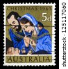"AUSTRALIA - CIRCA 1965: A stamp printed in Australia shows Nativity Scene, with inscriptions ""Christmas, 1965"", from the series ""Christmas"", circa 1965 - stock photo"