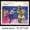 AUSTRALIA - CIRCA 1991: A stamp printed in Australia shows Netball, circa 1991 - stock photo