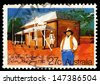 AUSTRALIA - CIRCA 1982: A stamp printed in Australia shows Old Post and Telegraph Station, Alice Springs, circa 1982 - stock photo