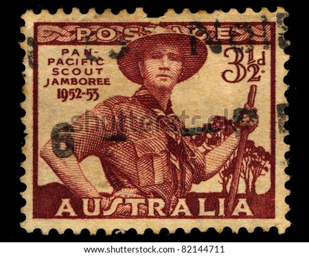 AUSTRALIA - CIRCA 1953: A stamp printed in Australia shows Pan-Pacific Scout Jamboree, 1952-53, circa 1953 - stock photo