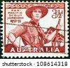 AUSTRALIA - CIRCA 1952: A stamp printed in Australia shows Pan-Pacific Scout Jamboree, Greystanes, circa 1952. - stock photo
